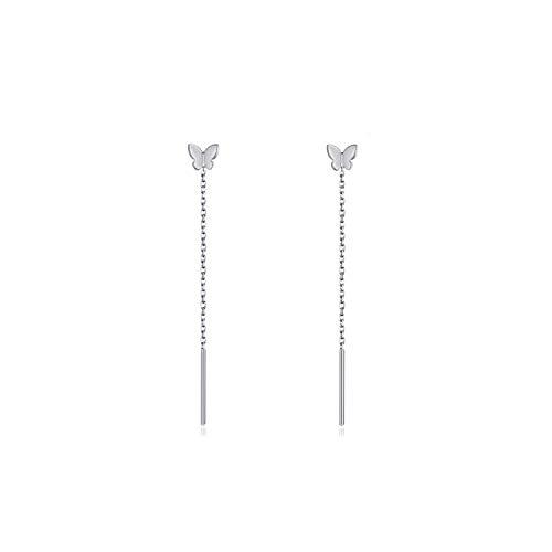 Pendientes de enhebrador de mariposa Pendientes colgantes de mariposa de plata esterlina Pendientes colgantes de cadena larga Regalo para mujeres Día de San Valentín, Cumpleaños (Plata)