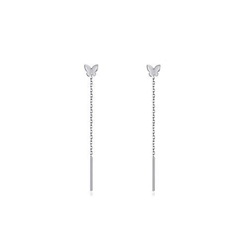 Pendientes de enhebrador de mariposa Pendientes colgantes de mariposa de plata esterlina Pendientes...