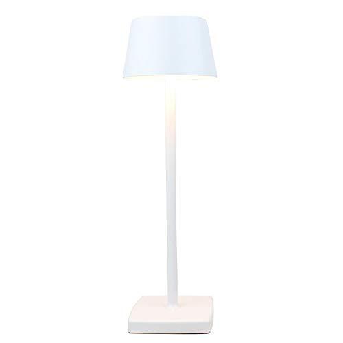 Lámpara de mesita de noche, lámpara LED, lámpara de mesa de jardín, lámpara de mesa de carga USB, IP54 impermeable, lámpara de mesa de aleación de aluminio, apta para interior y exterior blanco