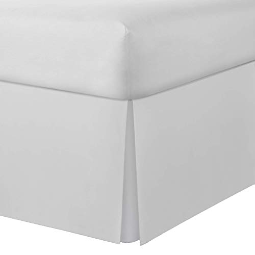 Lux Hotel Microfiber Tailored Bed Skirt with Classic 14 Inch Drop Length Pleated Styling, King, White