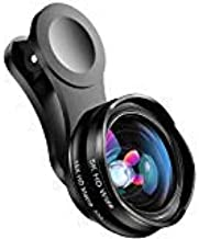 Phone Camera Lens for iPhone and Android, Wide Angle & Macro Lens (Screwed Together) Cell Phone Lens for iPhone X XR XS Max 8 7 6S Plus Samsung S9 S8 and Android Phone (Black)