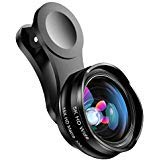 Phone Camera Lens for iPhone and Android, Wide Angle & Macro Lens (Screwed Together) Cell Phone Lens for iPhone X XR XS Max 8 7 6S Plus Samsung S9 S8 and Android Phone with Travel Case (Black)