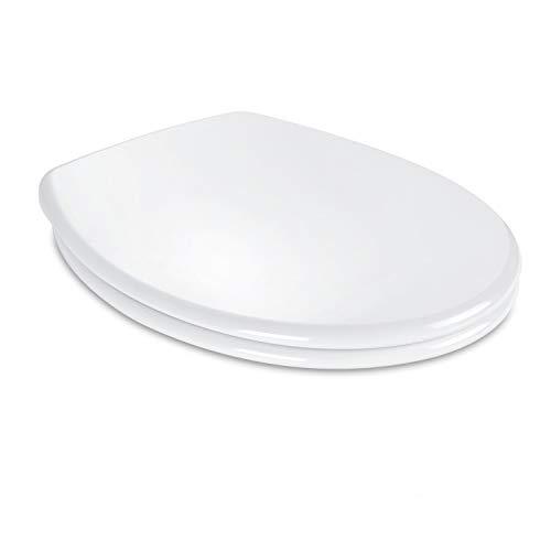 Dalmo Wc Sitz O Form Toilettensitz mit Absenkautomatik und Quick Release-Funktion, Toilettendeckel aus Antibakterielle Duroplast und Rostfreie Edelstahl, Einfache Montage, weiß
