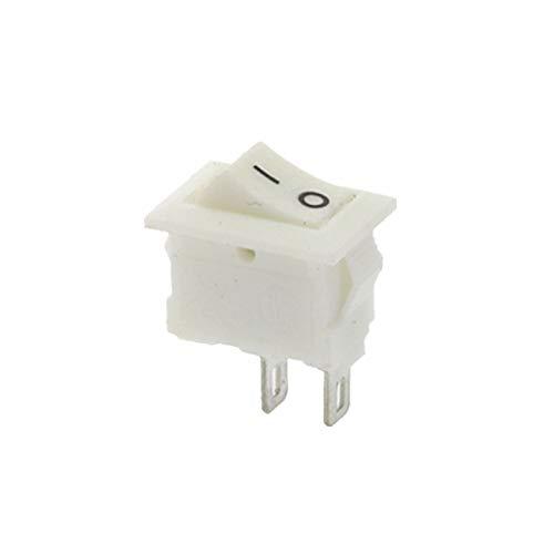 Interruptores de Palanca 100pcs 10 * 15mm 2PIN ON/Off Interruptor oscilante 3A 250VAC / 125VAC 6A Blanco Rojo Negro (Color : White 100Pcs)