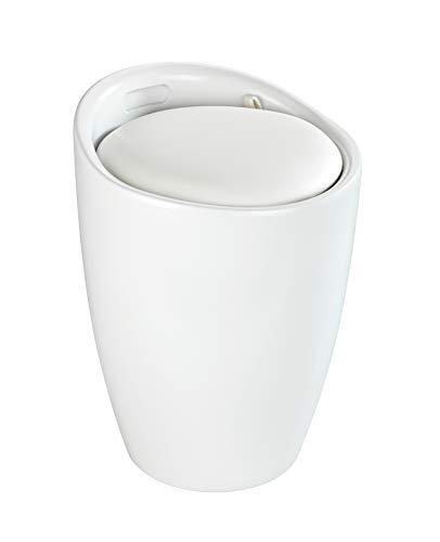 WENKO Sgabello Candy Bianco opaco - Sgabello da bagno, con sacco biancheria estraibile, ABS, 36 x 50.5 x 36 cm, Bianco