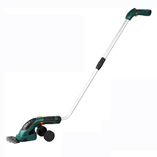 Braceletlxy Jardin sans Fil d'herbe Cisaillement + Taille-haie, Tondeuse électrique légère Batterie, poignée télescopique et Roue de Chariot