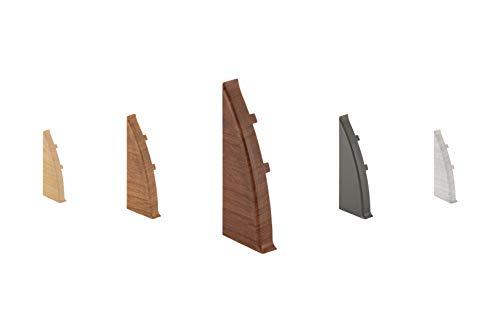 LEMAL Endkappen links, PVC 60x26mm - Zubehör für Sockelleisten mit Kabelkanal - (8605 Holzoptik Nussbaum hell, 1 Stück) Abschluss Leisten Teppichboden