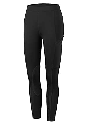 Willit Girls Horse Riding Pants Tights Kids Equestrian Breeches Knee-Patch Youth Schooling Tights Zipper Pockets Black M by WILLIT