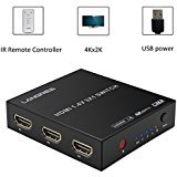 HDMI Switch 4K 3 in 1 Out, LANGREE Intelligent 3 Port HDMI Switcher 3 x1 Support Ultra HD 4K 1080P 3D, with IR Remote and USB Power Cable - Black