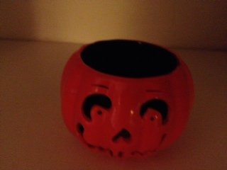 "Bath and Body Works Pumpkin Votive Candle Holder 3 1/2"" Ceramic"