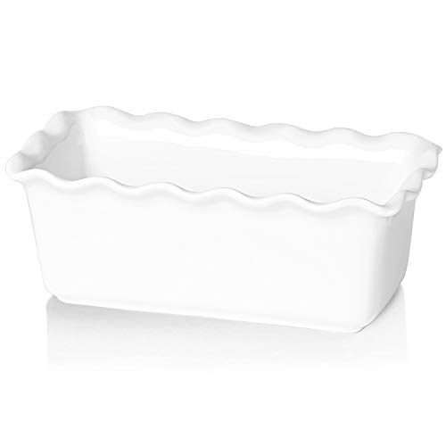 HAOTOP Ceramics Loaf Pan for Baking, Non-Stick Porcelain Bread bowl, Baking bowl, Perfect for Meat and Bread,9-inch (White)