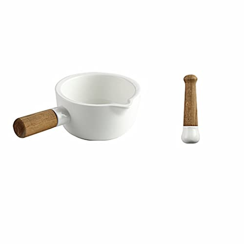 SOLUSTRE Ceramic Mortar and Pestle Set Porcelain Pill Crusher Spice Masher Spice Blender with Woood Handle for Spices Chillies Crushing Sesame Seeds White
