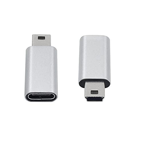 Duttek Adaptador USB tipo C, adaptador USB C a Mini USB, USB C Tipo C Hembra a Mini USB Macho Conector Compatible Portátiles/Tabletas, Reproductor MP3, Cámara Digital (Plata)