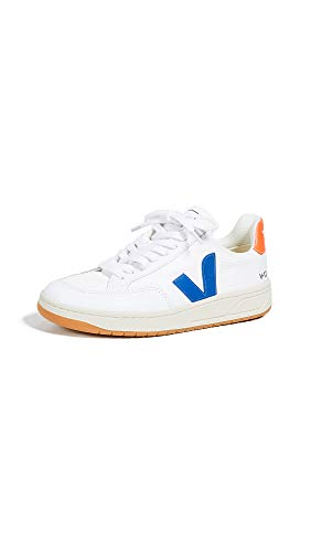 Veja Women's V-12 Lace Up Sneakers, White/Indigo/Orange/Fluo, 6 Medium US