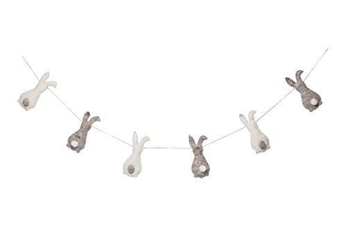 De Kulture - Ghirlanda di Coniglietti di Pasqua in Feltro, Realizzata a Mano, Lunghezza 122 cm, per Decorazioni pasquali, Decorazione per la casa, Feste (Grigio e Bianco Sporco)