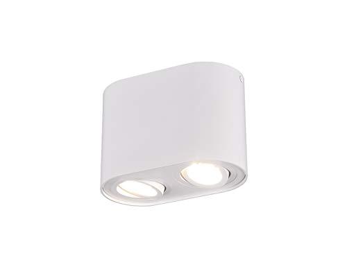 Globo - Faretto da soffitto a cilindro con LED e 2 faretti orientabili, colore: Bianco opaco