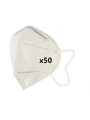 MASCARILLA FFP2 CE 0161 ESSAX - Pack 50 unidades, Mascara de Protección Personal. 5 capas. Mascarilla Alta Eficiencia Filtración, CE 0161 + Normativa EN 149:2001+A1:2009 Fabricada en España (50)