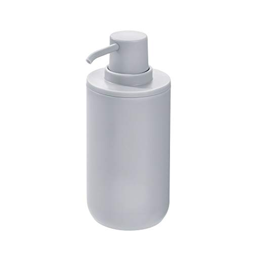 Price comparison product image iDesign 28513 Liquid Soap Dispenser,  Refillable Hand Soap Bottle with 355 ml Volume,  Round Plastic Soap Pump for Bathroom and Kitchen,  Grey