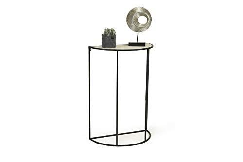 LIFA LIVING Moderner Konsolentisch Halbrund Schwarz, Beistelltisch aus Metall und MDF-Holz, für Flur, Wohnzimmer, Schlafzimmer, maximal 6 kg Belastbarkeit