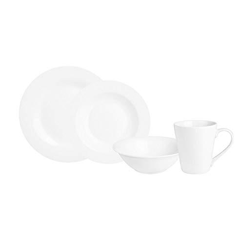 KARACA Serie Denisa Rund, 24 TLG. Weiß Porzellan Geschirrset Kombiservice Tafelservice mit 6 Suppenteller, 6 Speiseteller, 6 Servierteller, 6 Tasse