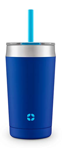 Ello Rise Vacuum Insulated Stainless Steel Tumbler with Optional Straw, 12 oz, Touchdown Blue
