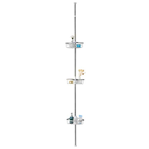 Tangkula Tension Corner Shower Caddy, Rustproof Stainless Steel Shower Caddy Pole, 3 Positionable Shelves, Pole Height Adjustable from 7 Feet to 8.5 Feet