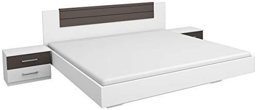 Rauch Möbel Barcelona Bett Doppelbett mit 2 Nachttischen, Weiß / Lavagrau, Liegefläche 160x200 cm, Stellmaß Bett-Anlage inklusive Nachttische BxHxT 265x85x206 cm