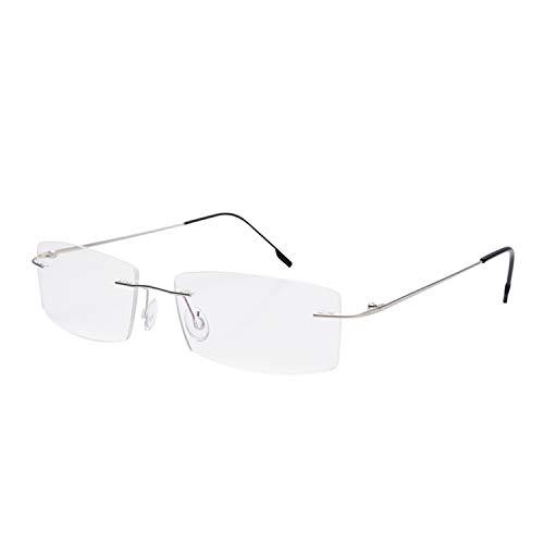 Gafas de lectura sin montura Lentes de lectura de titanio ligeros Hombres Mujeres +4.00 Aumento