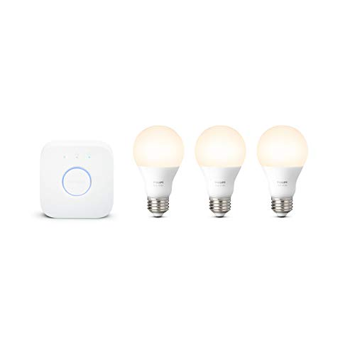 Philips Hue Kit de iniciación de bombillas LED inteligentes de color blanco, 3 bombillas inteligentes A19 y 1 concentrador de tono, (funciona con Alexa, Apple HomeKit y Google Assistant)