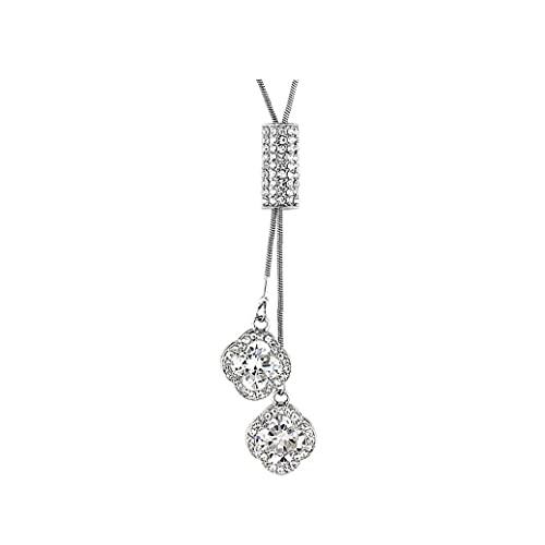 MICHAELA BLAKE Collar de Cadena de Cristal Brillante Colgante, Collar de tréboles suéter con Estilo Rhinestone hipoalergénico clavícula Collar de Plata