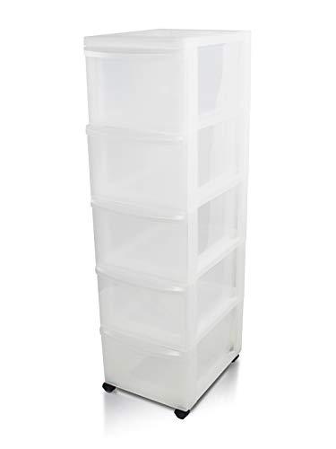 Iris Ohyama, Schubladenschrank auf Rollen / Rollwagen - Design Chest DC-305 - plastik, frostweiß, 5 x 15 L, L40 x B29 x H101,5 cm
