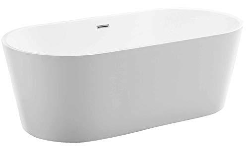 Freistehende Badewanne MIO aus Acryl weiß - Größe und Standarmatur wählbar, Standarmatur:Ohne Standarmatur, Siphon:Ohne Siphon, Größen:150 x 75 cm