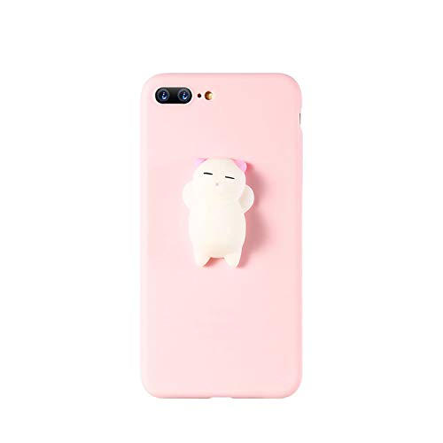can't be satisfied Cat Case for iPhone 5s 5 SE 7 7 Plus 6 6s Plus Squishy Case Cute Silicon Cartoon Cat Cases for iPhone X 7 6 6s 5S Cover,Cat 1 Pink,for 6 Plus 6s Plus
