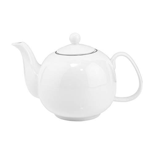 BUTLERS Silver Lining Teekanne in Weiß 1,2 l - Runde Kanne aus Qualitätsporzellan - Hochwertiges Kaffee-Service