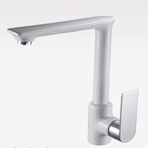 SKYEI Grifos de Cocina Faucet Cocina Faucetchen Fregadero Faucet Blanco Toque Hot and Fried Water Mixer Crane Deck Mountekitchen Grifos (Color : White Chrome)