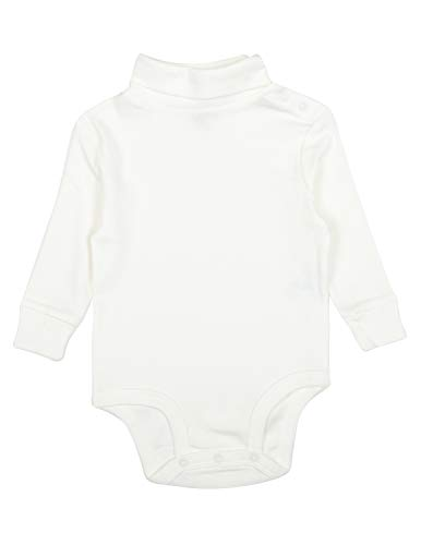 Leveret Solid Turtleneck Bodysuit 100% Cotton (18 Months, Off White) Boys Clothes White Turtleneck