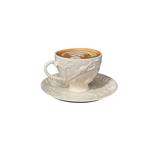 SXXYTCWL Taza de café Cerámica Tazas de café y platillo Set En Relieve Rose Tazas de café Europeo Estilo Elegante Latte Cappuccino Espresso Taza de café Barista Taza 180ml