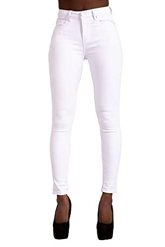 LustyChic Pantalon en Denim pour Femmes Jeans Slim Taille Haute Jeans Stretch Color Pant,42,Blanc