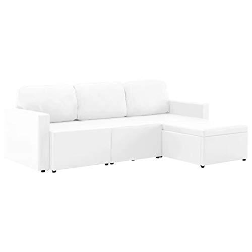 vidaXL Schlafsofa 3-Sitzer Modular Sofa Sofabett Schlafcouch Bettsofa Gästebett Polstersofa Ledersofa Couch Lounge Wohnzimmersofa Weiß Kunstleder