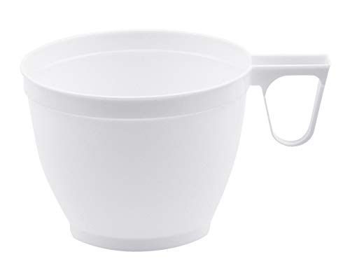 1-PACK Einweg-Kaffeetasse Henkeltasse 180 ml mit geschlossenem Griff, PS weiß, 300 Stück