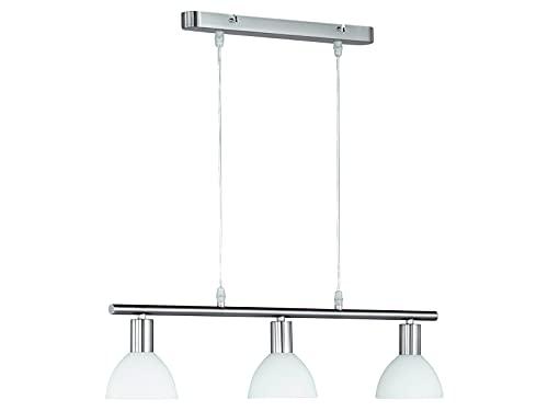 Balken Pendelleuchte, dimmbare LED Hängelampe 3 flammig Glas Lampenschirme Weiß Ø 11cm, 61cm breit