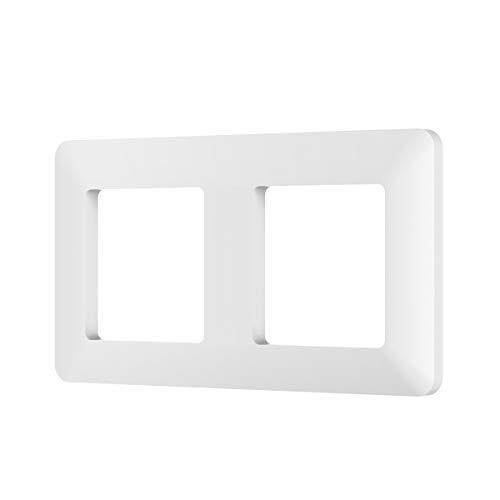 MoKo Universal Wandblenden, 2 Fach Wand Rahmen mit Starken Magneten auf der Rückseite, Perfekt Zubehör für Smart Schalter Lichtschalter Steckdose - 1 Stück