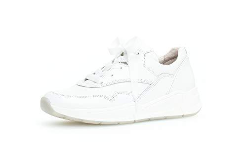 Gabor Damen Sneaker, Frauen Low-Top Sneaker,Comfort-Mehrweite,Optifit- Wechselfußbett, schnürschuh sportschuh Plateau-Sohle,Weiss,40.5 EU / 7 UK