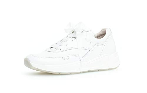 Gabor Damen Sneaker, Frauen Low-Top Sneaker,Comfort-Mehrweite,Optifit- Wechselfußbett, schnürschuh sportschuh Plateau-Sohle,Weiss,38 EU / 5 UK