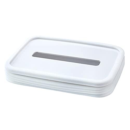 Soporte para caja de pañuelos, soporte para caja de pañuelos de elevación automática, caja de pañuelos faciales de mesa de gel de sílice plegable para el hogar, la oficina, el dormitorio,Blanco