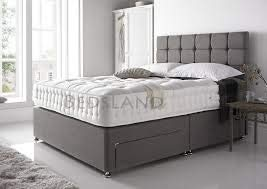 Linen Look Grey 4FT6 Double Divan Bed with Mattress 10', Headboard and 4 Drawers