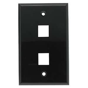 InstallerParts 2 Port Keystone Wallplate Black Smooth Face
