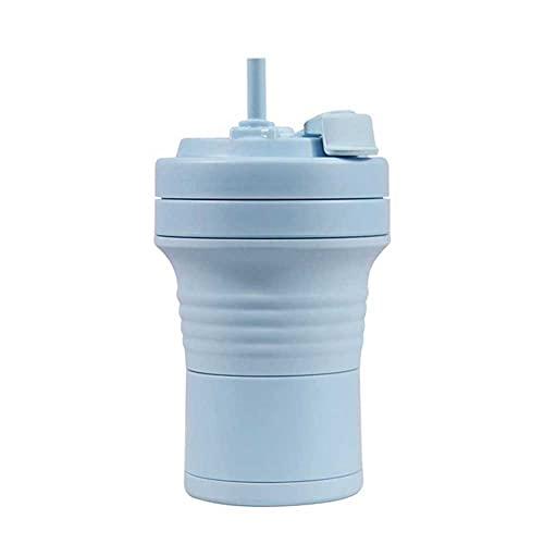 Adesign Copa de Viaje Plegable de Silicona: Taza de Camping Plegable de Silicona con Tapa de Taza de Bebida expandible - Portátil, BPA Libre (Color : Light Blue)