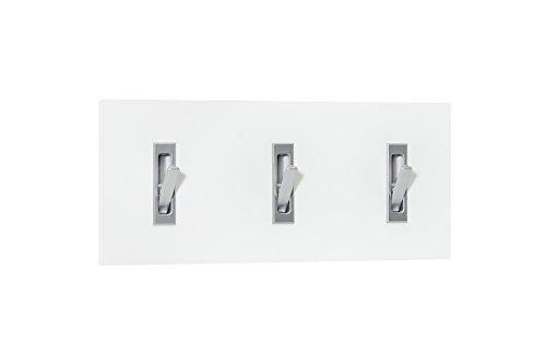 WILMES Garderobenpaneel quer mit 3 Klapphaken, Spanplatte, Melamin Dekor Weiß, 60 x 2,2 x 26 cm