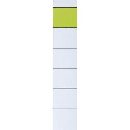 Ordner-Rückenschilder - kurz/schmal, 10 Stück Kurze Kartonrückenschilder zum Einstecken. Polybeutel mit 10 Sück, PapierLinien vorhanden, Verwendung für Druck- oder Schreibgerät: diverse Schreibgeräte, kurz/schmal zum Einstecken (B x H): 30 x 190 mm mit grünem Balken.